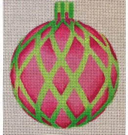 "All About Stitching Pink w/Green Cage ornament<br /> 4"" Round"