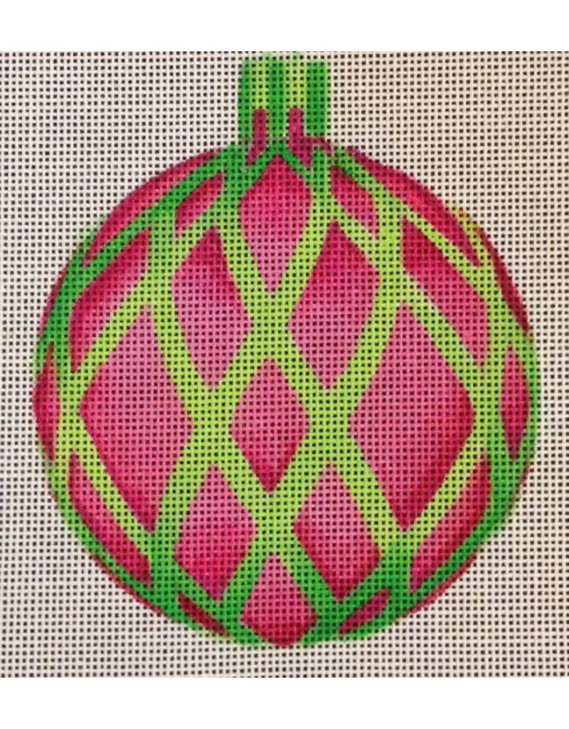 """All About Stitching Pink w/Green Cage ornament<br /> 4"""" Round"""