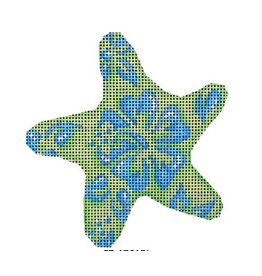 Associated Talent Blue/Lime Hibiscus  Starfish ornament
