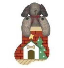 Kathy Schenkel Dog House w/Dog mini sock ornament