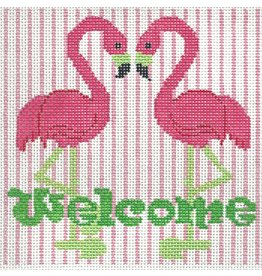 "2 Sisters Needlepoint Welcome Sign w/Flamingos<br /> 6"" x 6"""
