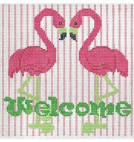 "Barbara Bergsten Welcome Sign w/Flamingos<br /> 6"" x 6"""