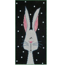 Patti Mann White Bunny on Black<br />5.25&quot; x 10&quot;
