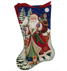Rebecca Wood Forest Santa stocking
