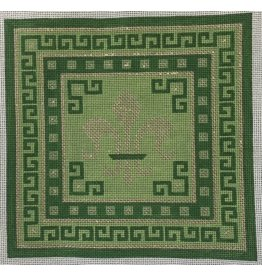 JP Needlepoint Fleur &amp; Greek Key on Green<br />
