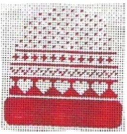 Stitch-It Stocking Cap red w/ hearts