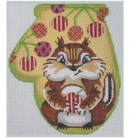 Julie Mar Chipmunk w/ Striped Cherries<br />Mitten<br />5&quot; X 4&quot;