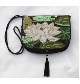 "Sophia Designs Small purse w/waterlily stitched front<br /> 8"" x 6.5"""
