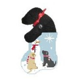 Kathy Schenkel Snowman Labs Mini Stocking w/Lab ornament