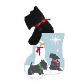 Kathy Schenkel Snowman Scotty Mini Stocking w/Scotty ornament