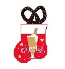 Kathy Schenkel Beer w/Pretzel Mini Stocking ornament