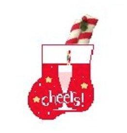 Kathy Schenkel Champagne w/Peppermind Stick Mini Stocking ornament