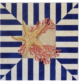 "Associated Talent Starfish Coral w/Navy Stripes<br /> 14"" x 14"""