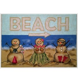 """All About Stitching Sandpeople Beach Pillow<br /> 12"""" x 9"""""""