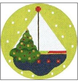 "Melissa Shirley Sailboat - ornament<br /> 4"" Round"