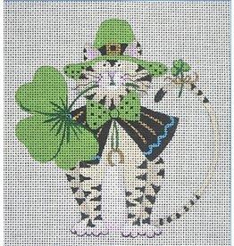 """Danji St Patrick's Cat - ornament<br /> 4.5"""" x 5"""""""