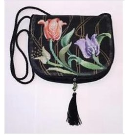 Sophia Designs Small purse w/tulips - front stitched<br />