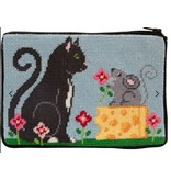 Alice Peterson Cat & Mouse Cosmetic purse