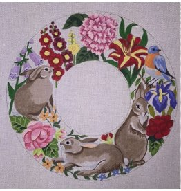 "Susan Roberts Rabbits In Summer Flowers, wreath 16.5""  round"