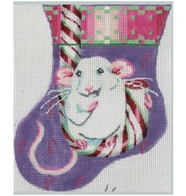 Julie Mar Whie Christmas Mouse on Candy Cane<br />5&quot; mini stocking