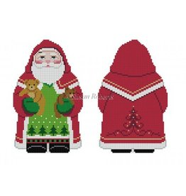 Susan Roberts Tree Coat Santa w/Teddies - (front and back) ornament