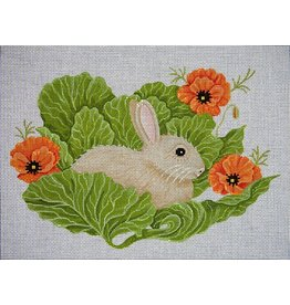 JP Needlepoint Bunny in Cabbage w/Poppies