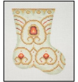 A Collection of Designs Pastel Mini-Stocking w/red stones  4.25""