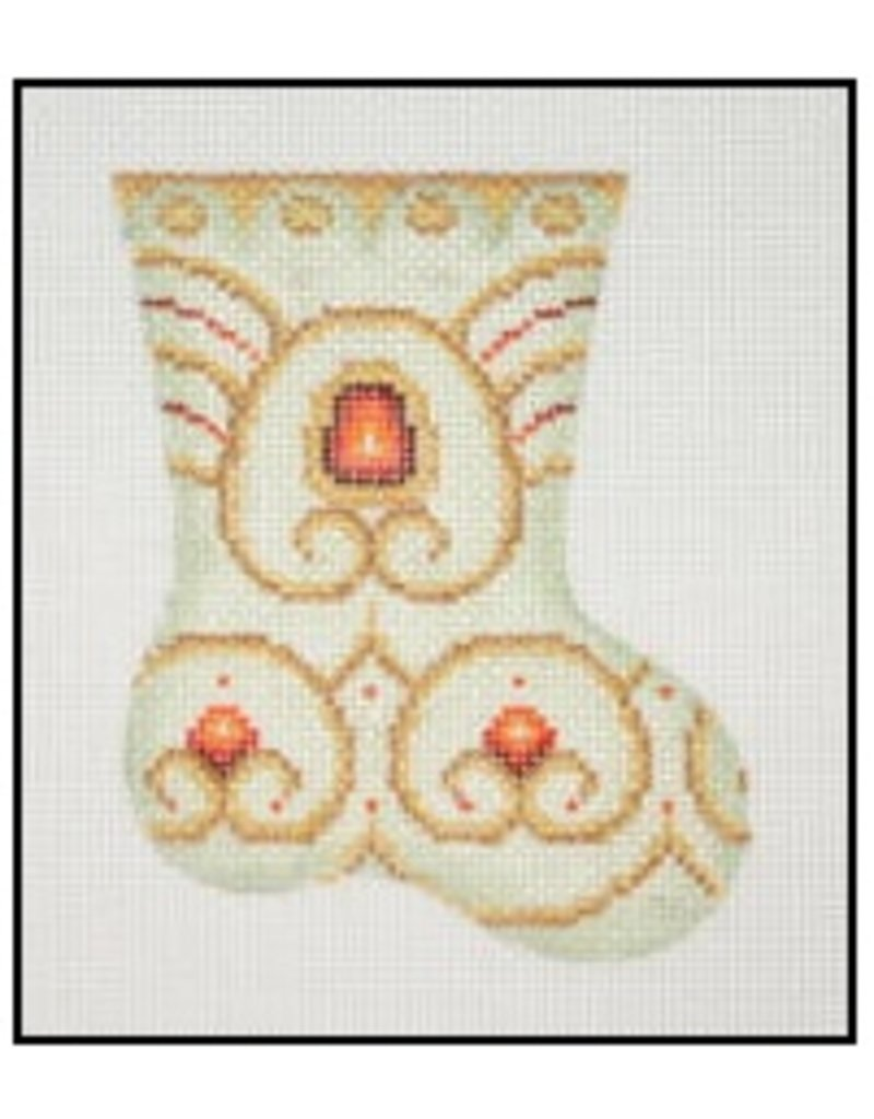 """A Collection of Designs Pastel Mini-Stocking w/red stones  4.25"""""""