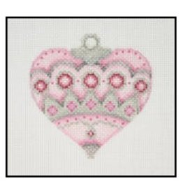 A Collection of Designs Fancy Pastel Ornament - Pink heart w/ruby circles 3.25""