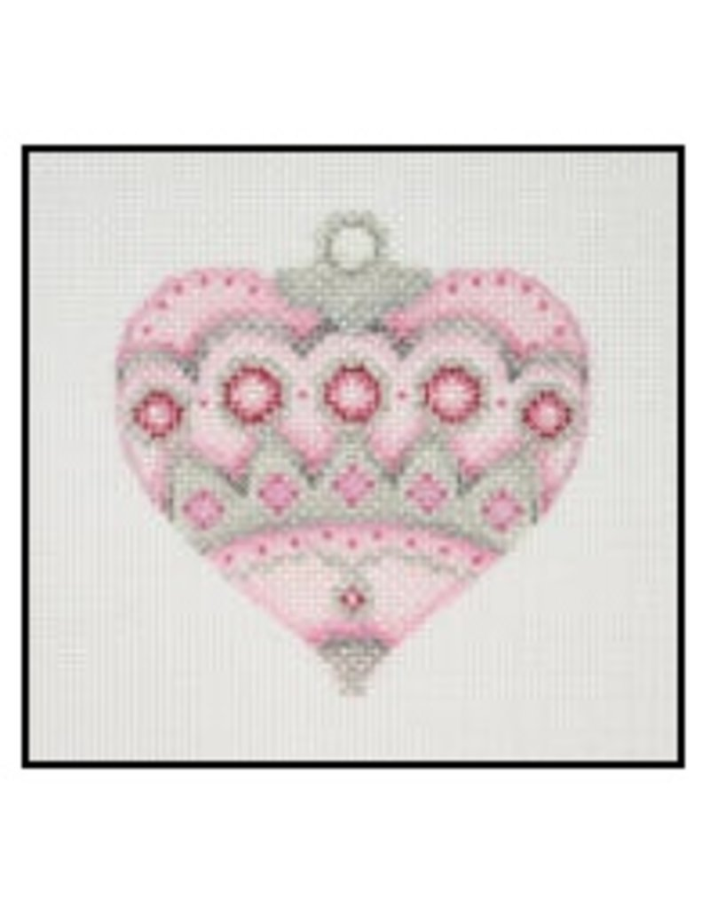 """A Collection of Designs Fancy Pastel Ornament - Pink heart w/ruby circles 3.25"""""""