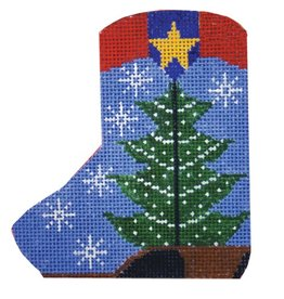 "Shelly Tribbey Christmas Tree Boot - Mini-Stocking w/Skate 4""x3.5"""