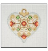 A Collection of Designs Fancy Pastel Ornament  - Heart ornament w/red stones 3.25""