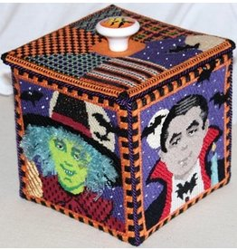 Julie Mar Halloween Box - 4 figures & lid w/knob & stitch guide