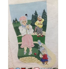 Artist Collection Mrs Claus playing golf stocking