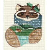 A Bradley Raccoon in mini stocking ornament
