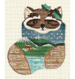A Bradley Raccoon in mini stocking ornament