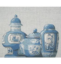All About Stitching Trio of Blue Vases w/Closed Tops<br />