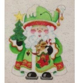Strictly Christmas Santa Holding Tree and Stocking