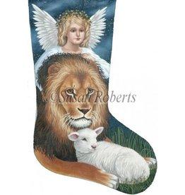 Susan Roberts Lion, lamb & angel stocking