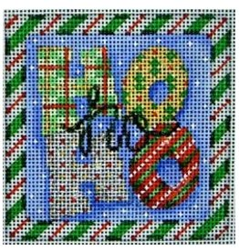 "Associated Talent Ho Ho Ho Square Green Candy Cane Border - Ornament/Coaster 3.25""x3.25"""