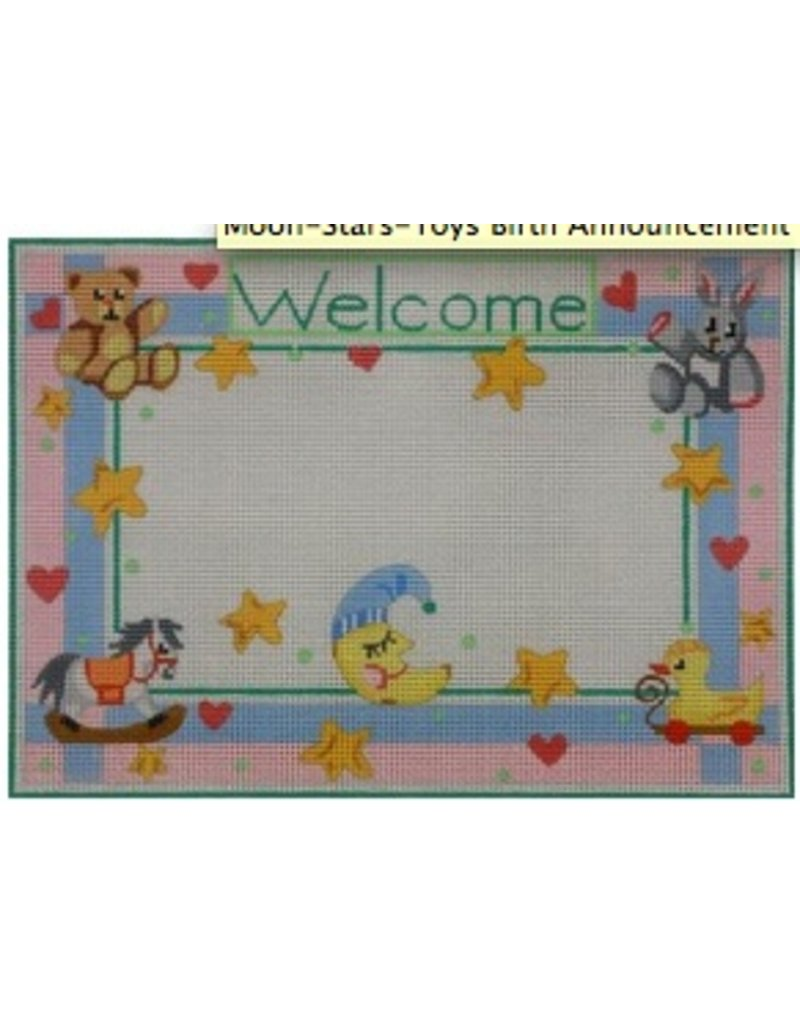 Alice Peterson Moon, Stars, Toys <br />Birth Announcement<br />12&quot;x8.5&quot;