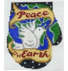 Elizabeth Turner Mitten ornament w/Peace on Earth Dove<br />4.5&quot; x 5.5&quot;
