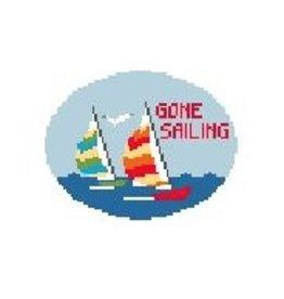"""Kathy Schenkel """"Gone Sailing"""" door hanging<br /> 4.5"""" x 3.25"""""""