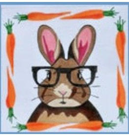 "Danji Rabbit w/Glasses &amp; Carrott border<br /> 8"" x 8"""