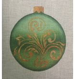 "All About Stitching Green Gold Scroll Ornament<br /> 4"" Round"