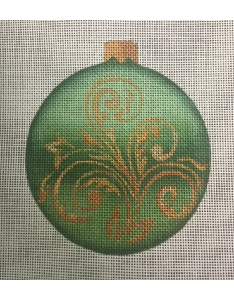 """All About Stitching Green Gold Scroll Ornament<br /> 4"""" Round"""
