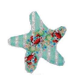 """Associated Talent Crab Confetti on Aqua Starfish<br /> 4.5"""" x 4.75"""