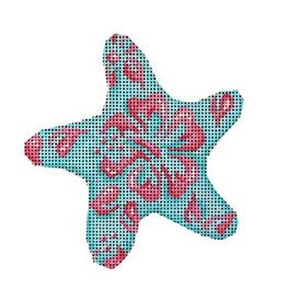 "Associated Talent Blue/Lime Hibiscus Starfish ornament<br /> 4.5"" x 4.75"""