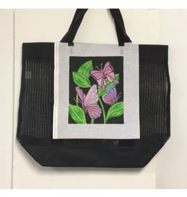 "Cheryl Schaeffer Black Tote Bag w/Butterflies needlepoint<br /> 21"" x 16"""