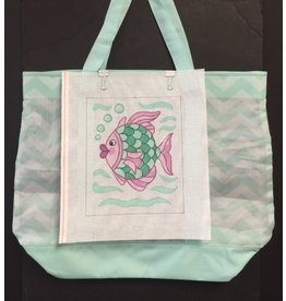 "Cheryl Schaeffer Chevron Tote (Seafoam &amp; white ) with Pink &amp; Green Fish insert<br /> 21"" x 16"""